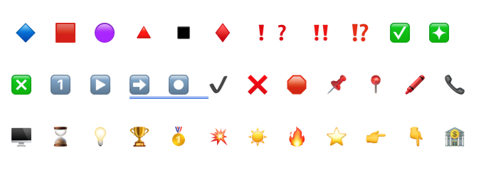 Some of the available emojis